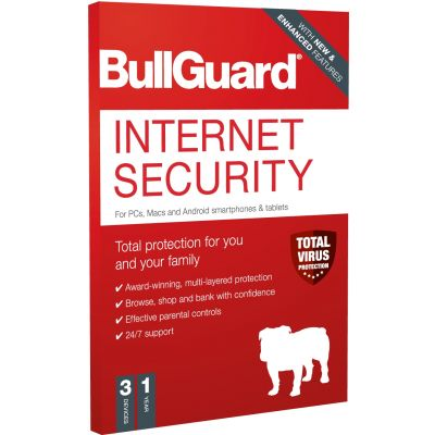 FREE - BullGuard Internet Security 100Mb, 3 Users, 1 Year