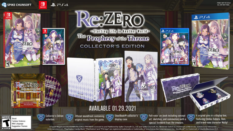 Re:ZERO -Starting Life in Another World- The Prophecy of the Throne collectors edition bundle everything you get in the re:zero game preorder collectors edition