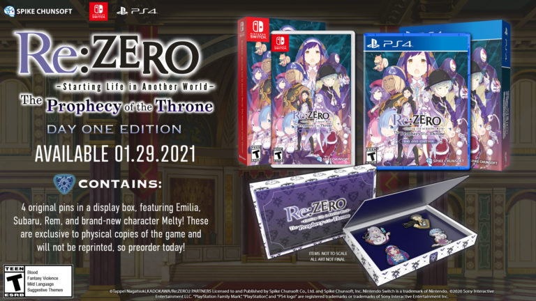 Re:ZERO -Starting Life in Another World- The Prophecy of the Throne day one edition collectors edition pack available for preorder now